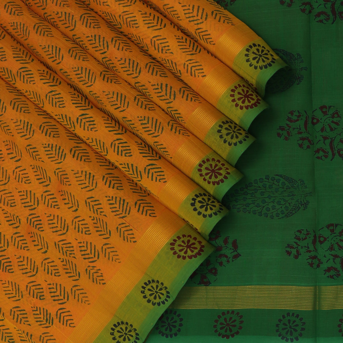 Printed Silk Cotton Saree-Dark Yellow and Green with Simple Zari border