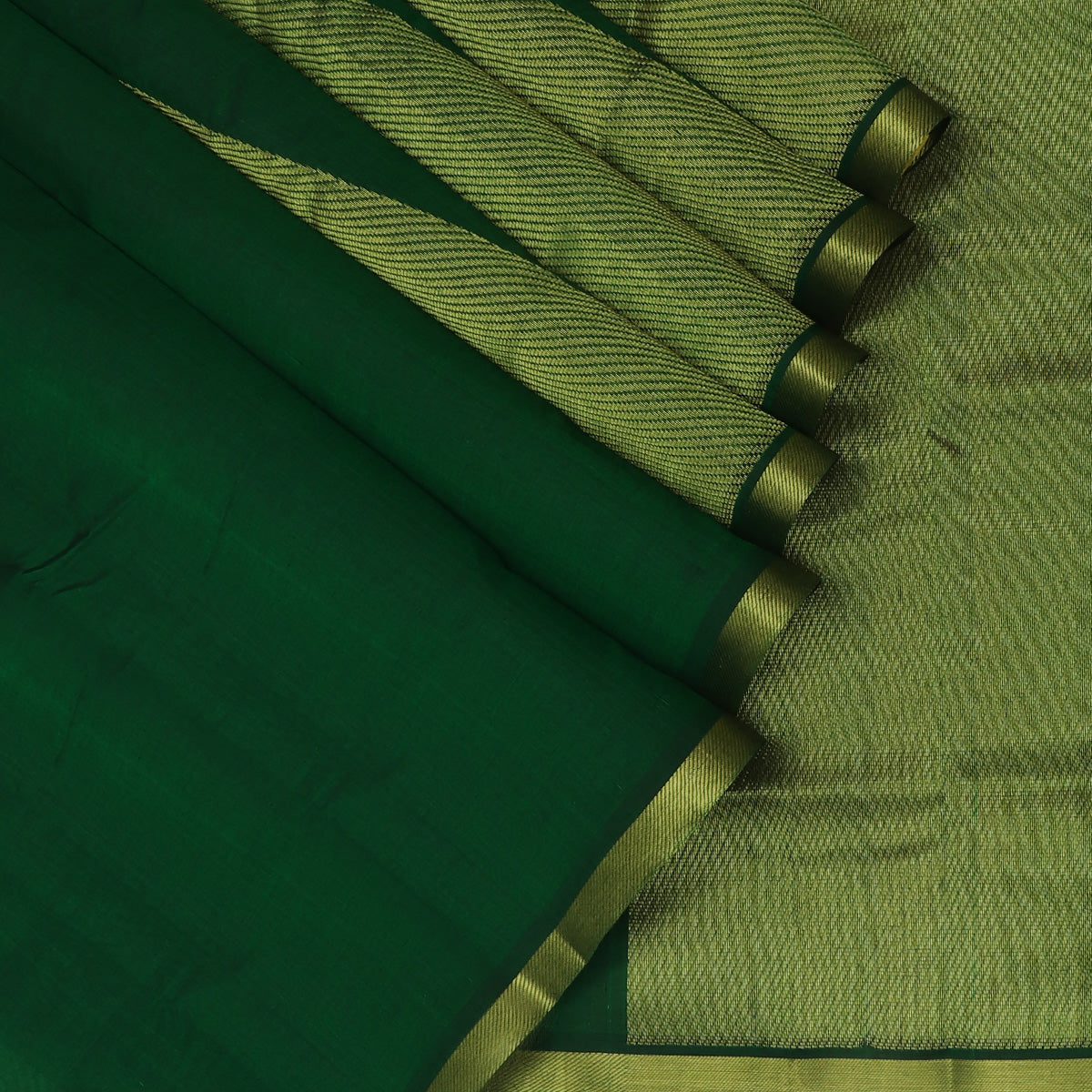 Silk Cotton Saree-Green with Temple zari Border