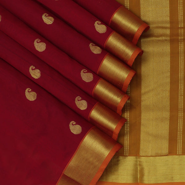 Silk Cotton Saree-Maroon with Mango Buttas and Mustard with zari Border