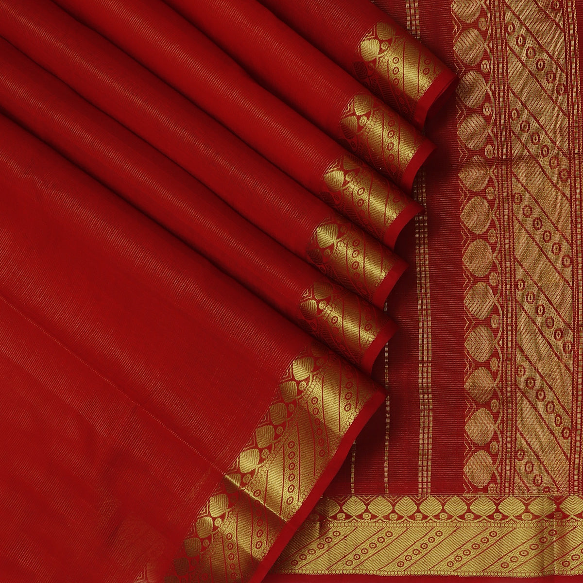 Silk Cotton Saree-Vairaoosi Red with Buds Zari border