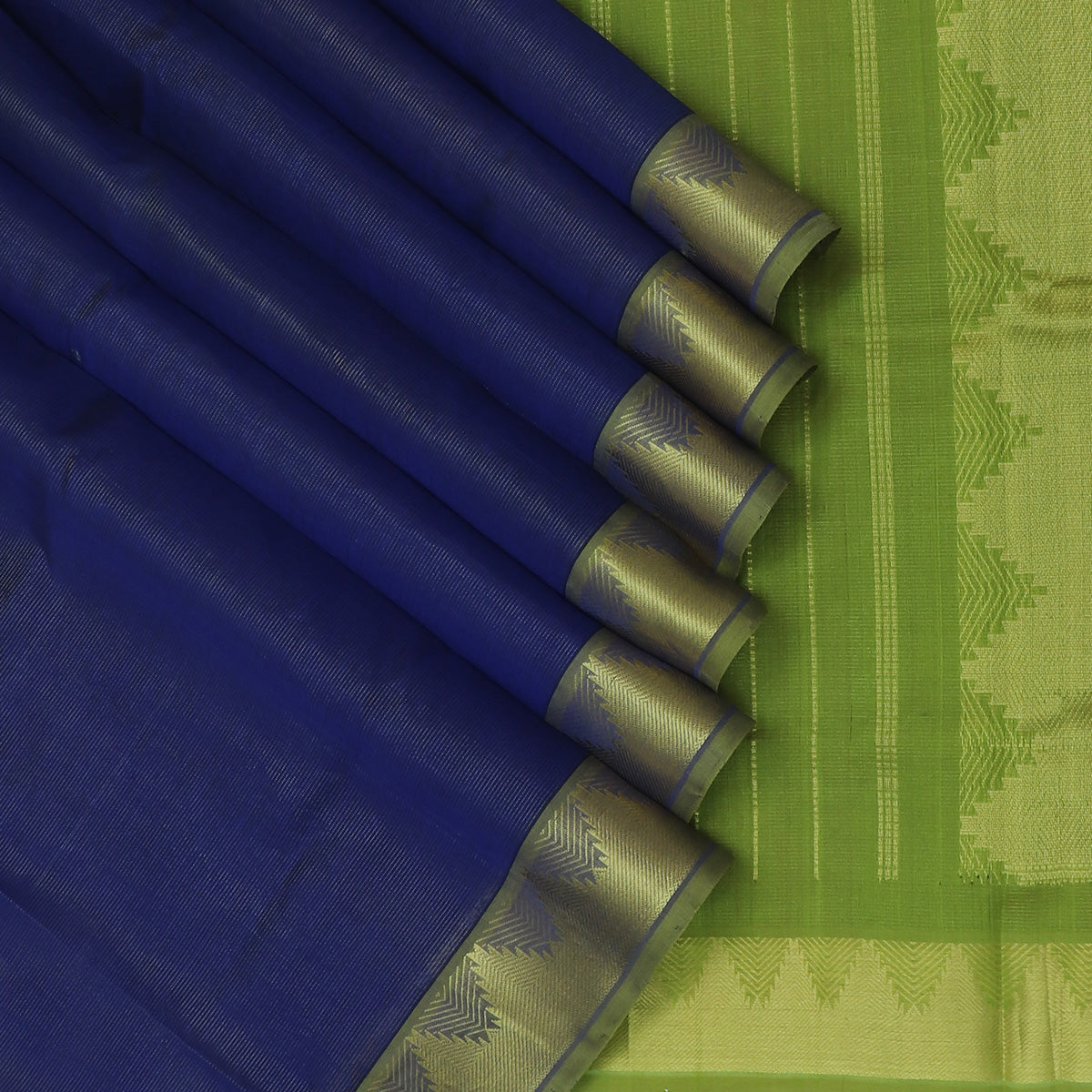 Silk Cotton Saree-Vairaoosi Blue and Light Green with Temple Zari border