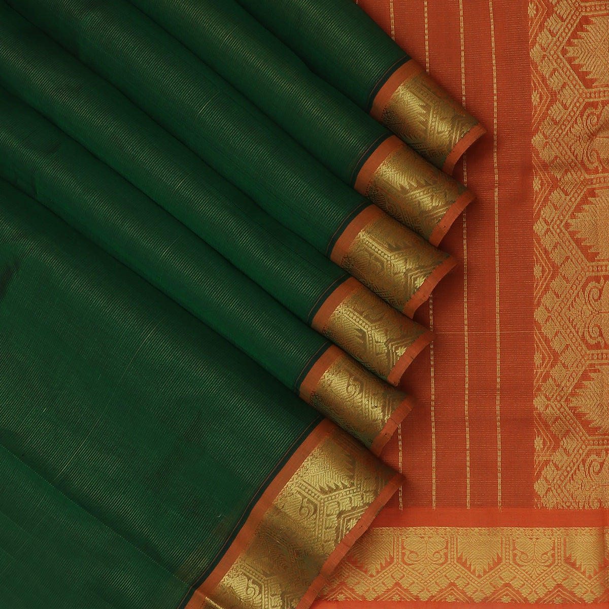 Silk Cotton Saree-Vairaoosi Dark green and Orange with Mango and Temple Zari border