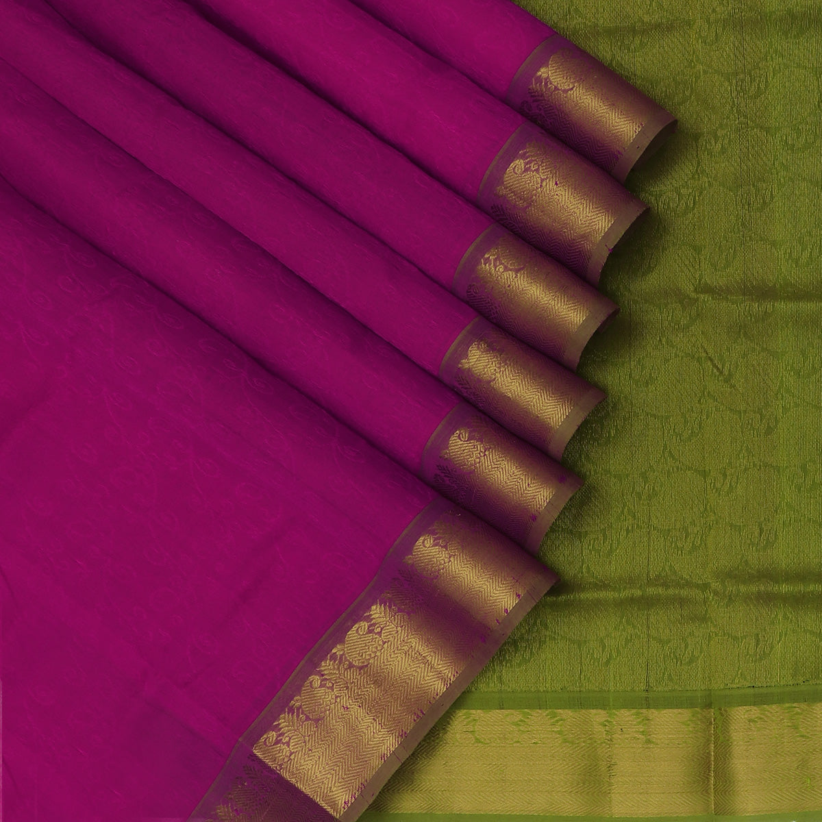 Silk Cotton Saree-Magenta and Light Green with Mango Zari border jacquard