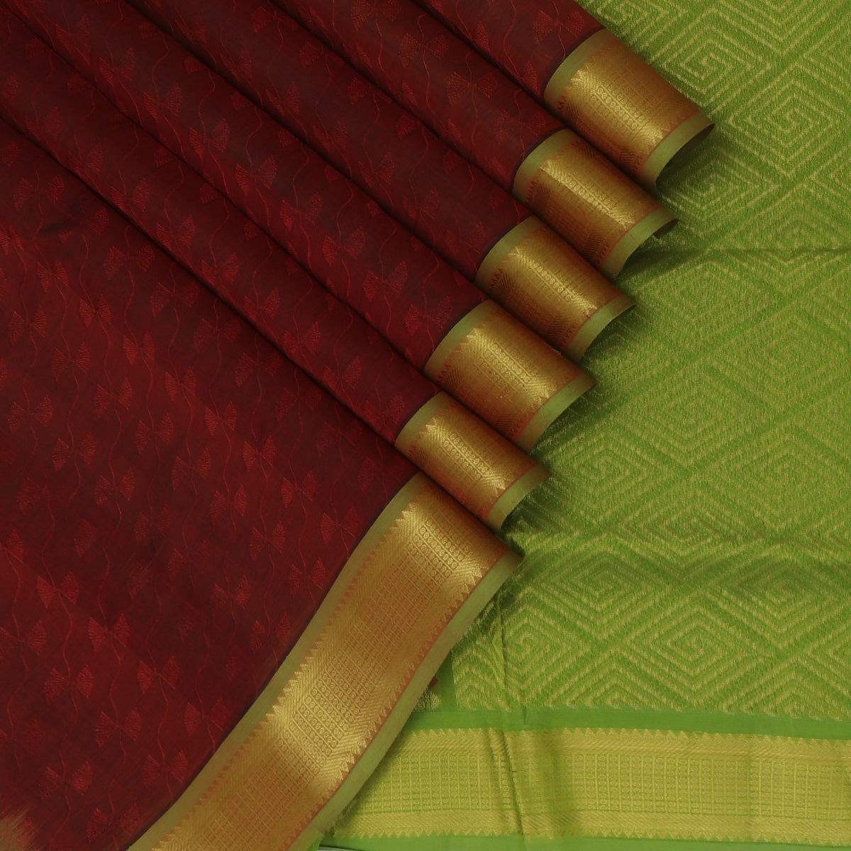 Silk Cotton Saree-Dark Maroon and Light Green with Temple Zari border jacquard