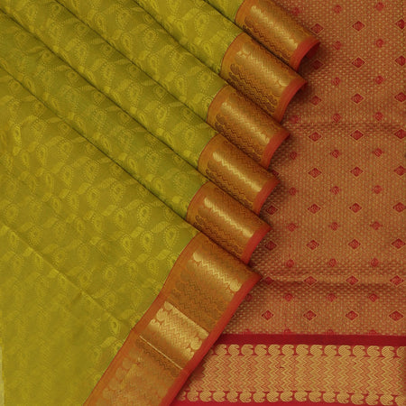 Silk Cotton Saree-Lime Green and Red with Mango Zari border jacquard