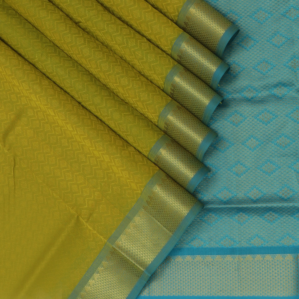 Silk Cotton Saree-Lime Green and Sky blue with Temple Zari border jacquard