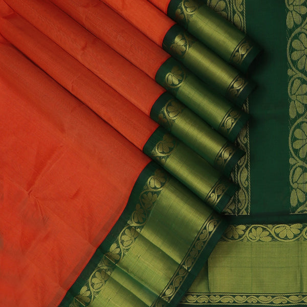 kuppadam Silk Cotton Saree-Orange and Dark Green with Floral Silk border