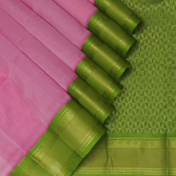 kuppadam Silk Cotton Saree-Light Pink and Mehandi Green with Mango Silk border