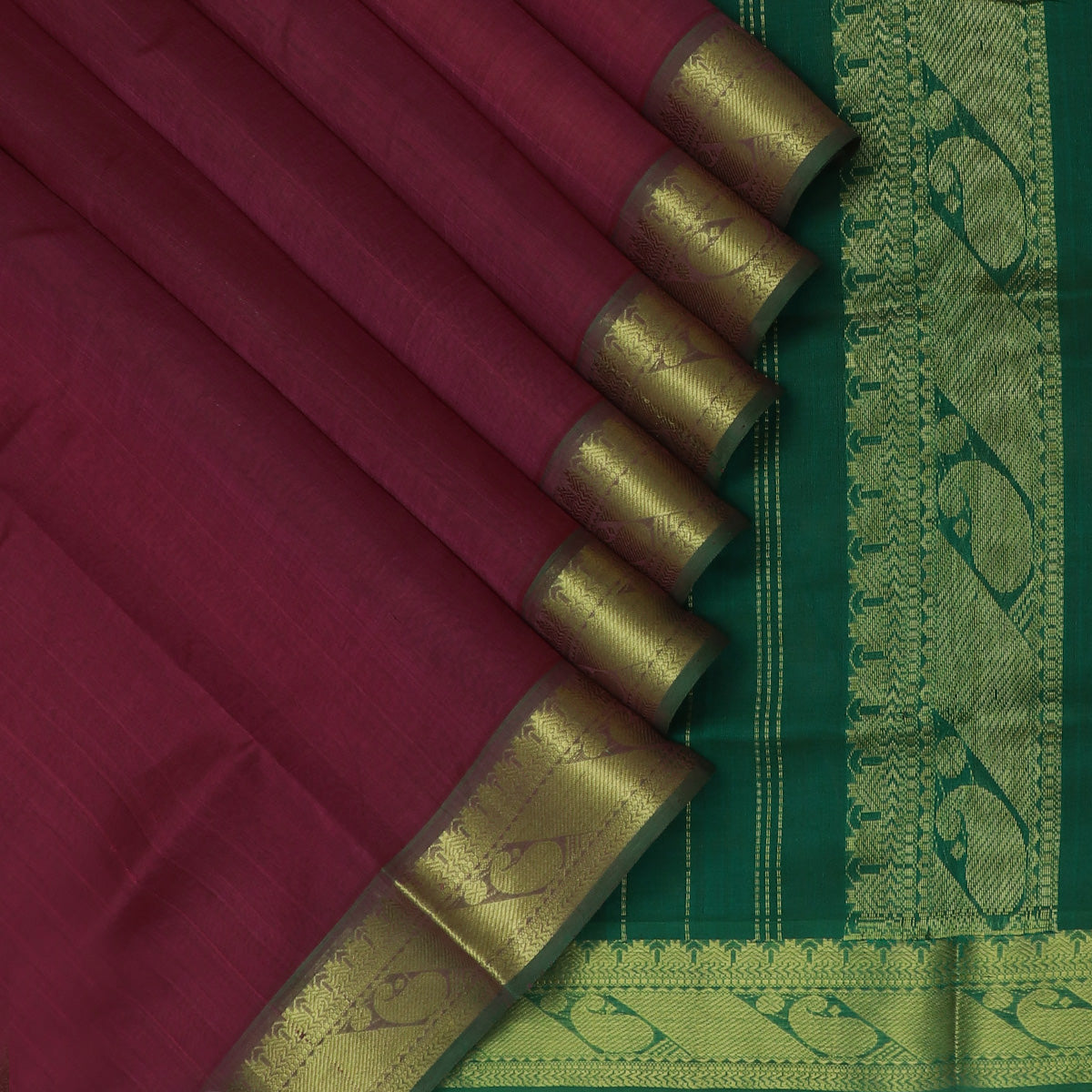 Silk Cotton Seree Dark Onion Pink and Green with Temple Zari border