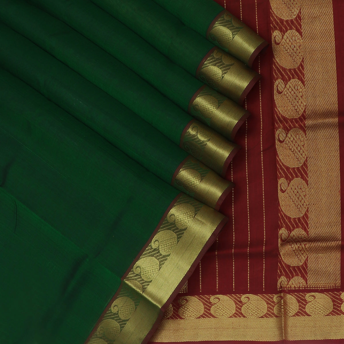 Silk Cotton Seree Dark Green and Maroon with Mango Zari border for Rs.Rs. 3240.00 | Silk Cotton Sarees by Prashanti Sarees