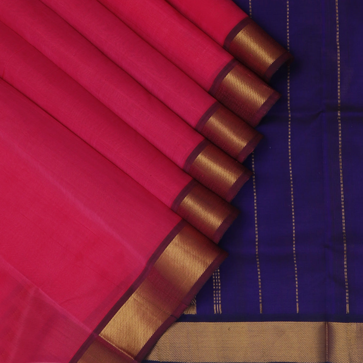 Silk Cotton Seree Dual Shade Of Pink and Blue with Zari border