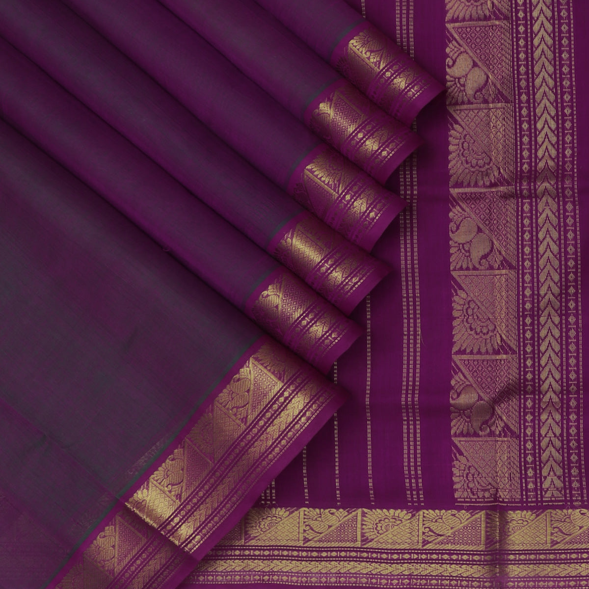 Silk Cotton Seree Dual shade of Violet with Temple Zari border