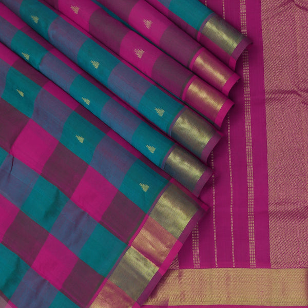 Silk Cotton Saree Paazhum Pazhamum Peacock Checks Blue and Pink with Temple Buttas and Zari border