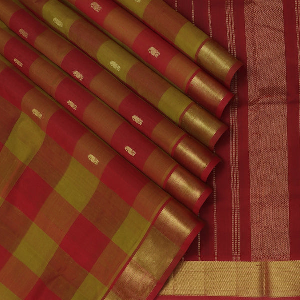 Silk Cotton Saree Paazhum Pazhamum Checks Red and Pickle Green with Buds Buttas and Zari border