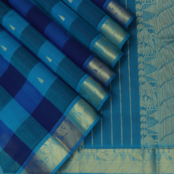 Silk Cotton Saree Paazhum Pazhamum checks Blue and Sky Blue with Temple Buttas and Annam Zari border