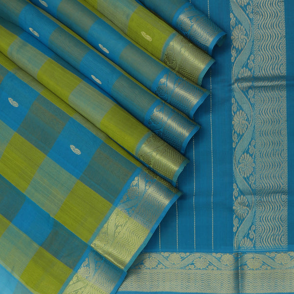 Silk Cotton Saree Paazhum Pazhamum Checks Mehandi Green and Sky Blue with Mango Buttas and Floral Zari border