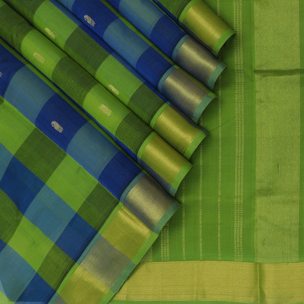Silk Cotton Saree Paazhum Pazhamum Checks Light Green and Blue with Mango Buttas and Zari border