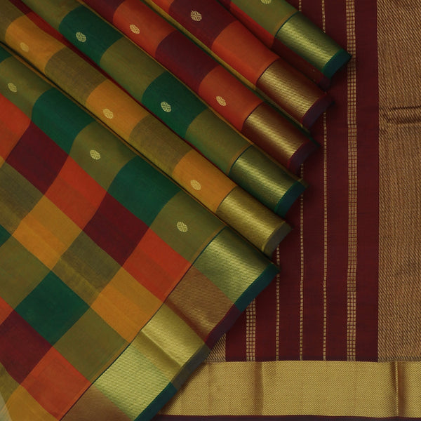 Silk Cotton Saree Paazhum Pazhamum Checks Multi color with Buttas and Zari border