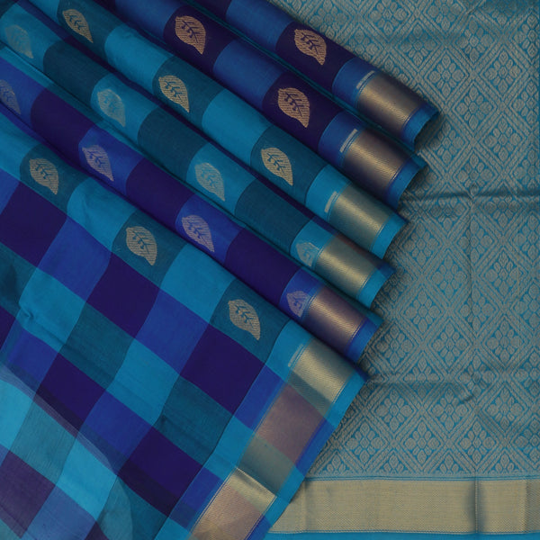 Silk Cotton Saree Paazhum Pazhamum Checks Blue and Sky Blue with Leaf Buttas and Zari border