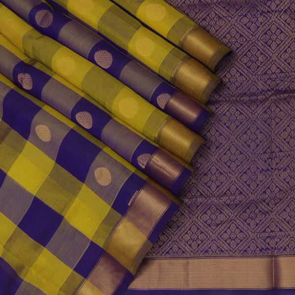 Silk Cotton Saree Paazhum Pazhamum Checks Yellow and Indigo Blue with Rudraksha Buttas and Zari border