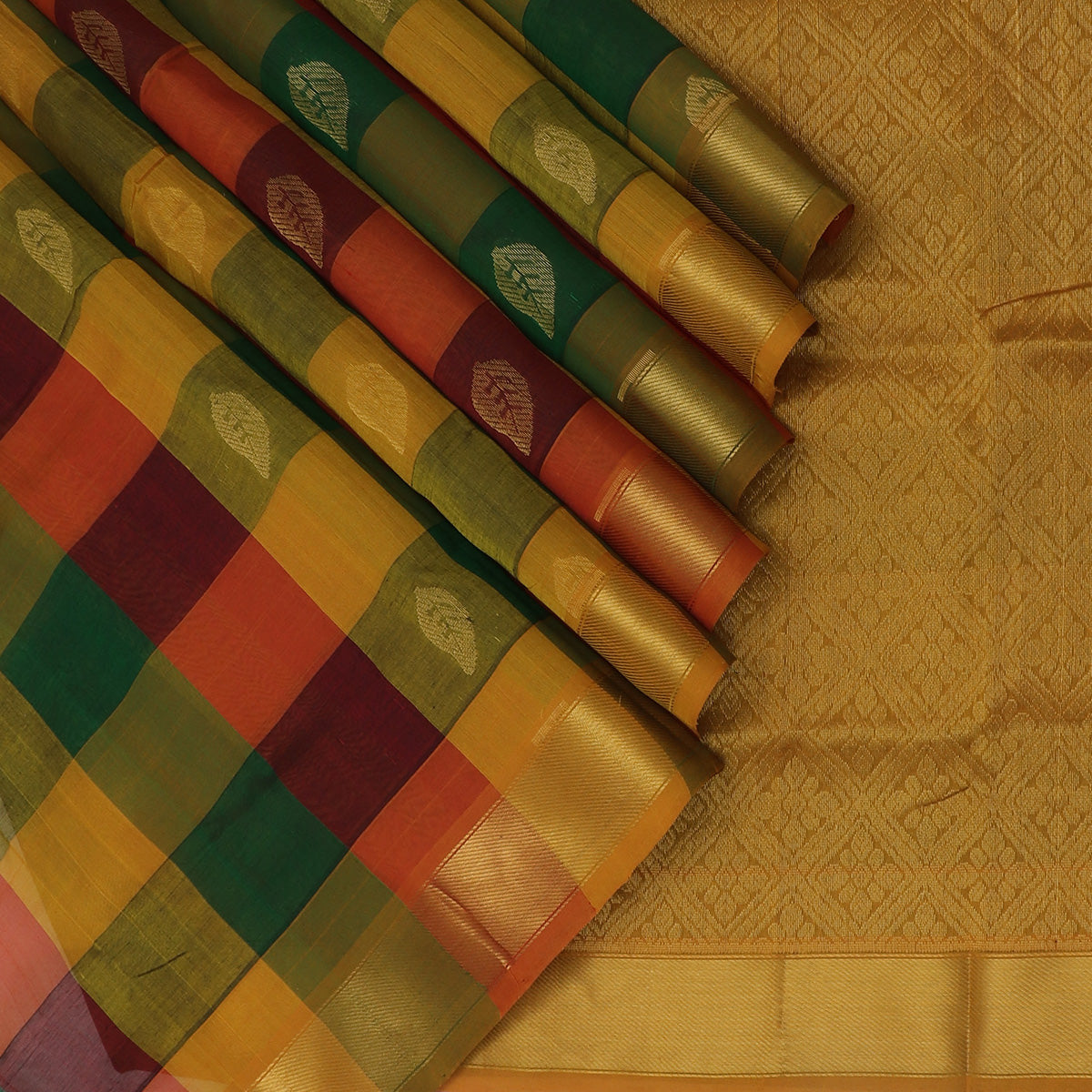 Silk Cotton Seree Paazhum Pazhamum Checks MultiColor with Leaf Buttas and Zari border