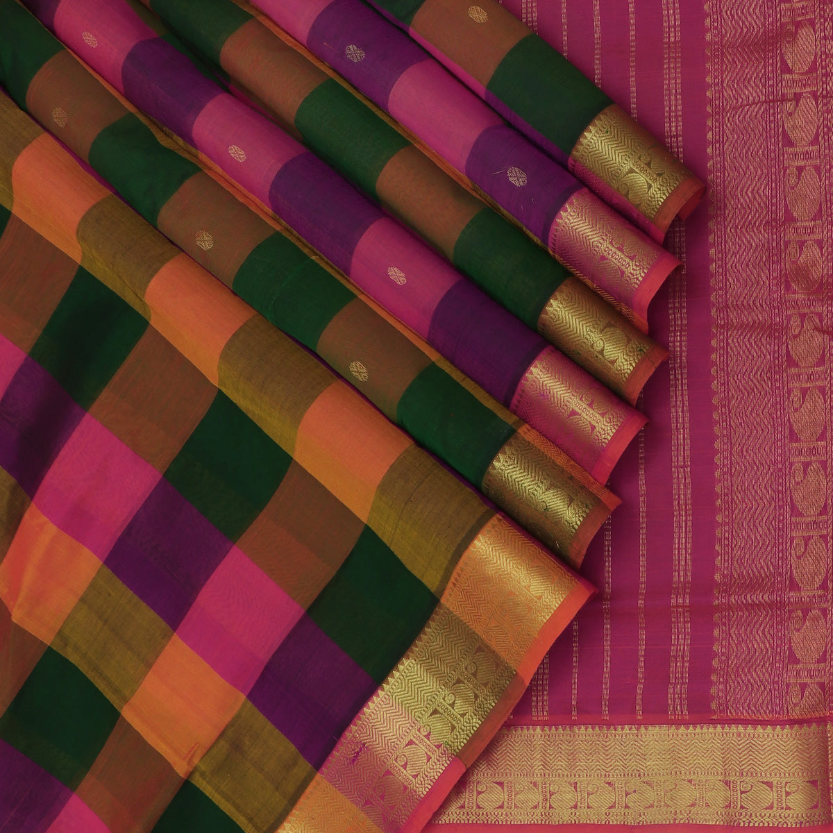 Silk Cotton Seree Paazhum Pazhamum Checks MultiColor with Buttas and Mango Zari border