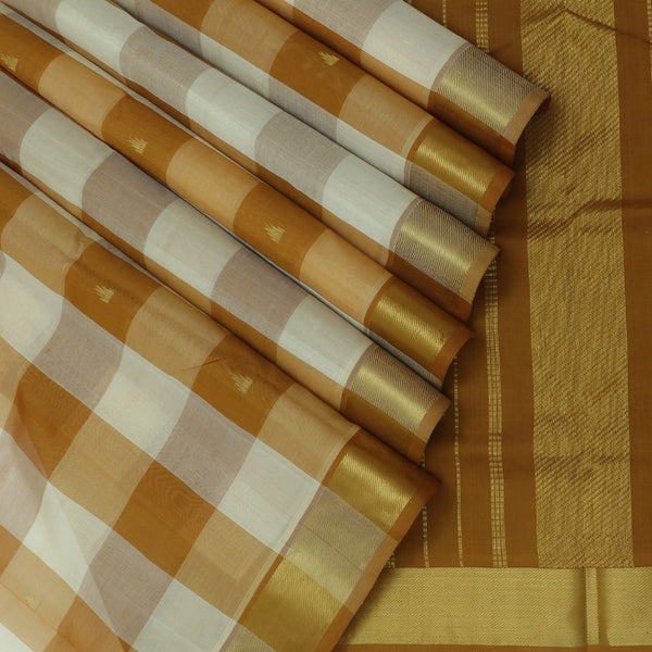 Silk Cotton Saree Paazhum Pazhamum Checks White and Mustard with Temple Buttas and zari border