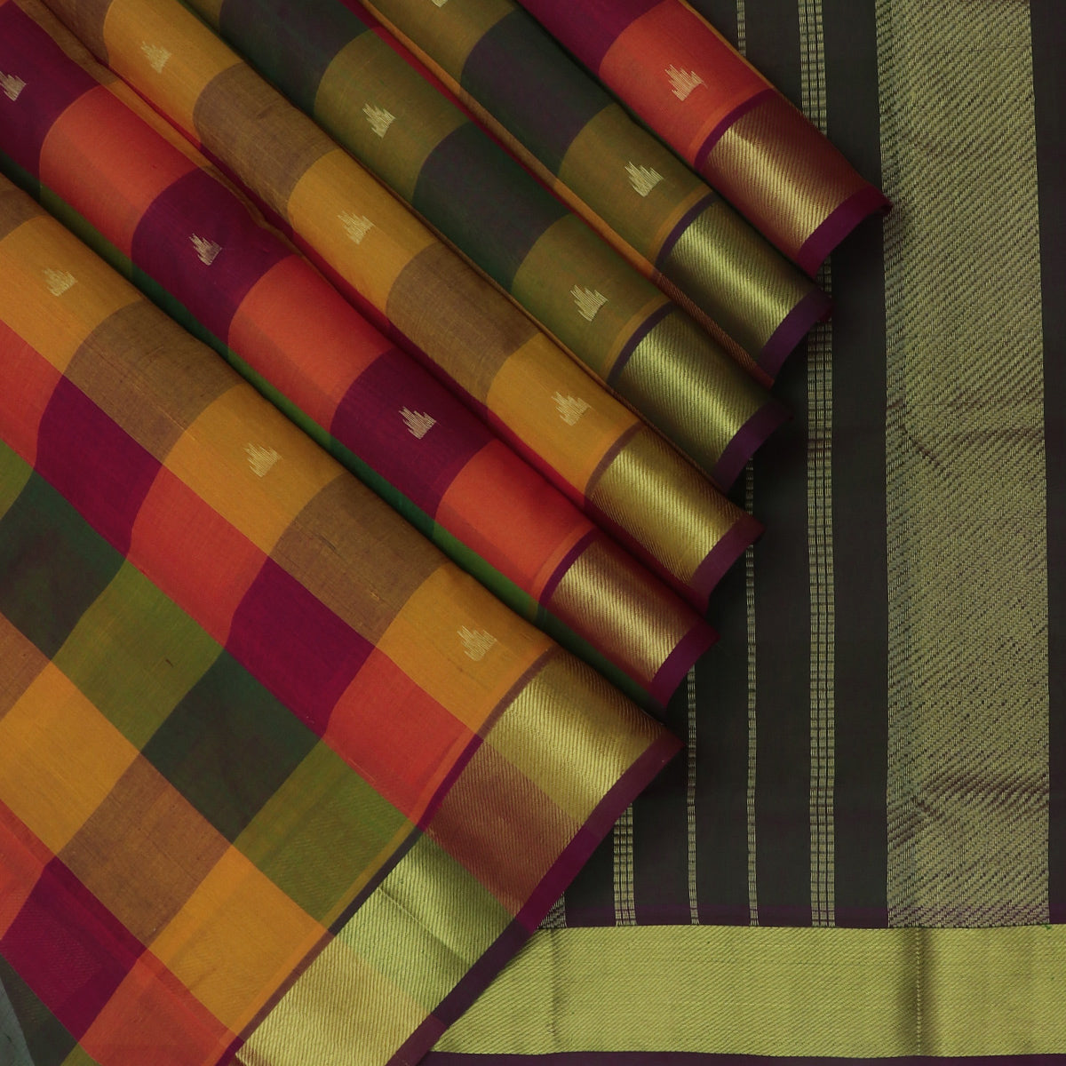 Silk Cotton Seree Paazhum Pazhamum checks MultiColor with Temple Buttas and zari Border
