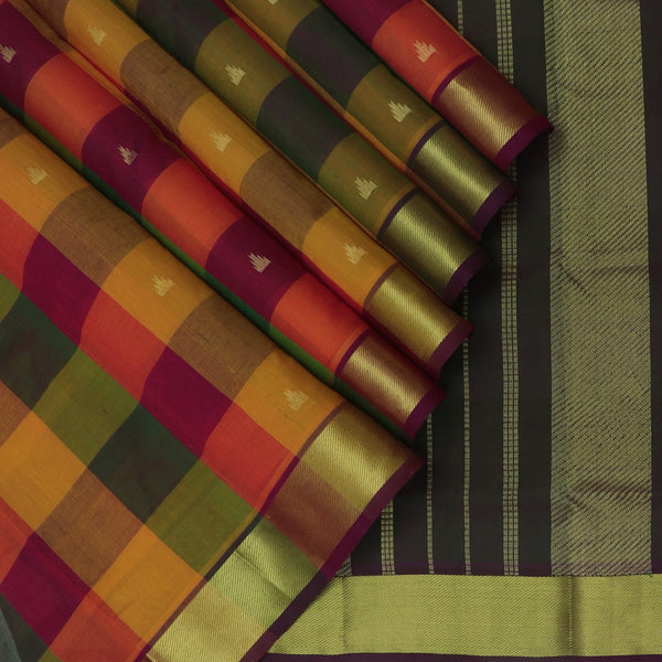 Silk Cotton Saree Paazhum Pazhamum checks MultiColor with Temple Buttas and zari Border