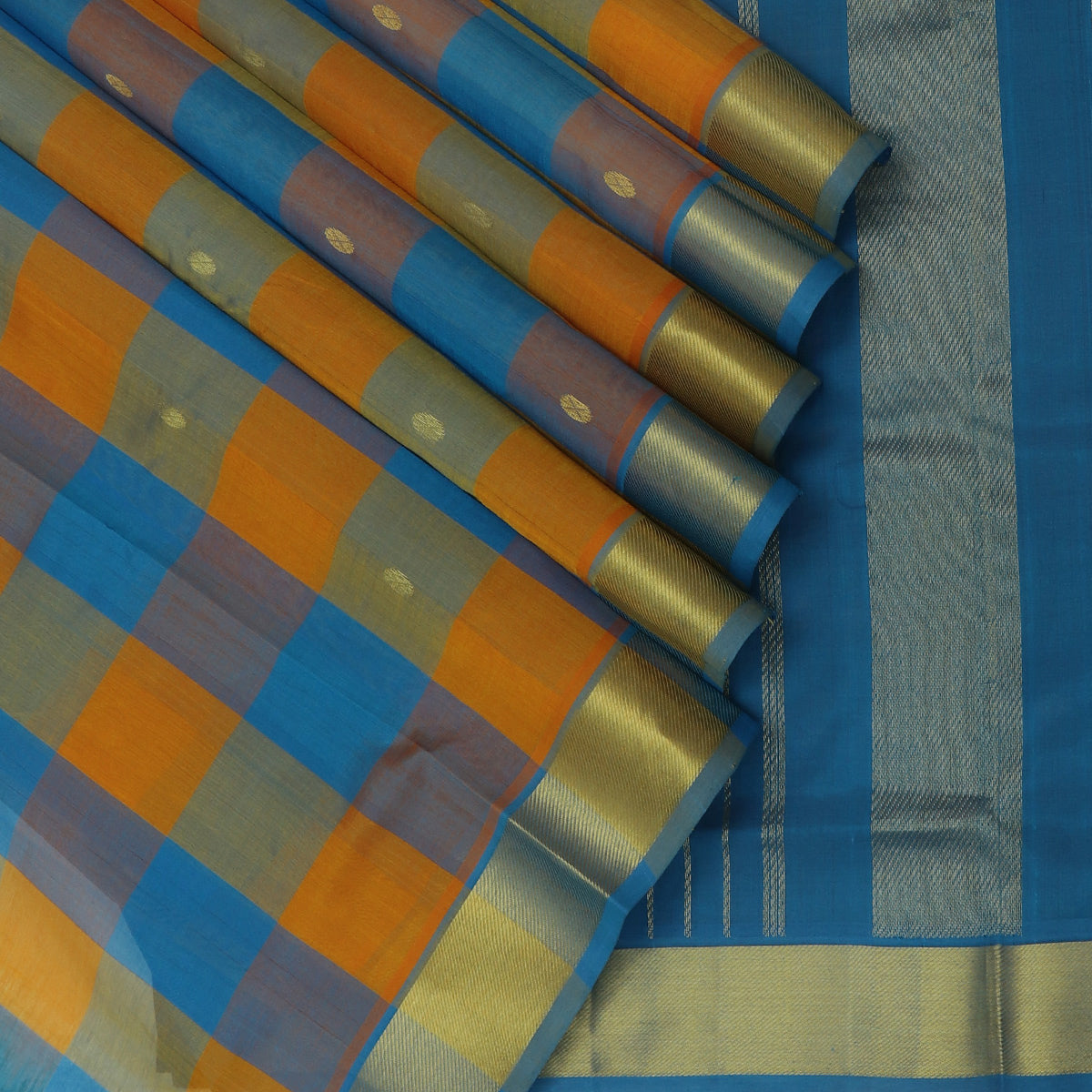 Silk Cotton Seree Paazhum Pazhamum Checks Sky Blue and Honey Color with Buttas and zari Border
