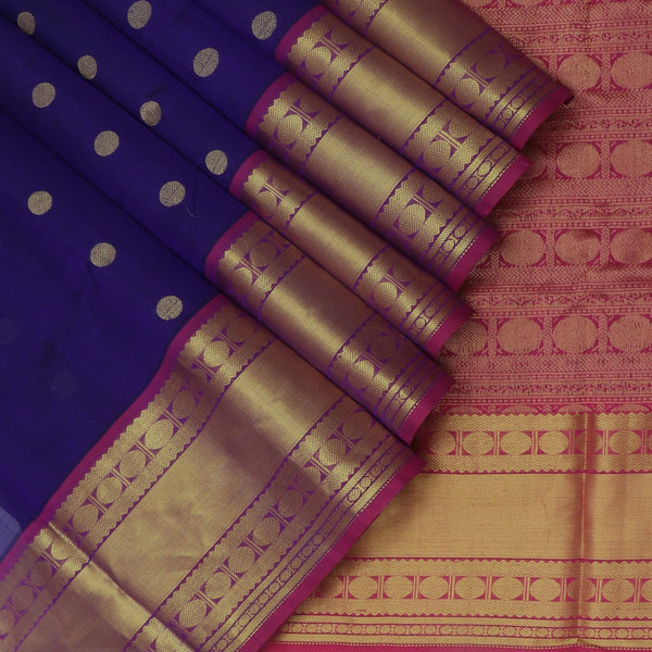 Silk Cotton Saree Indigo Blue with Buttas and Pink with Long Rudraksha Border for Rs.Rs. 4700.00 | Silk Cotton Sarees by Prashanti Sarees