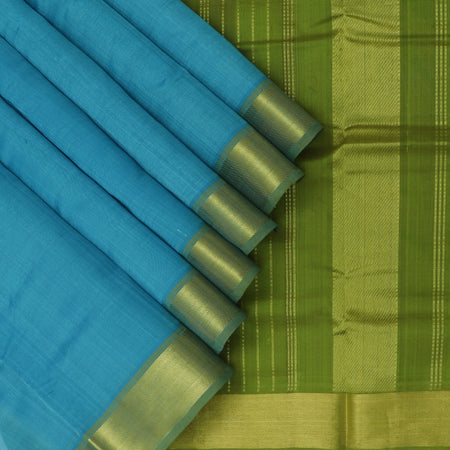 Silk Cotton Saree Sky Blue and Pear Green with Zari Border