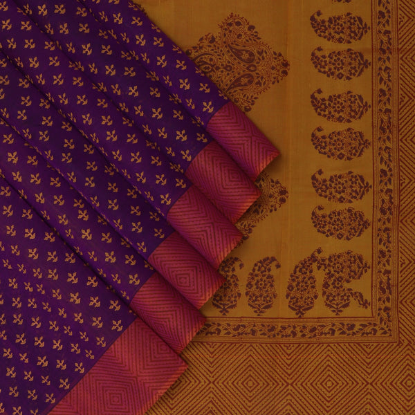 Printed Silk Cotton Saree Violet and Honey color with Simple border