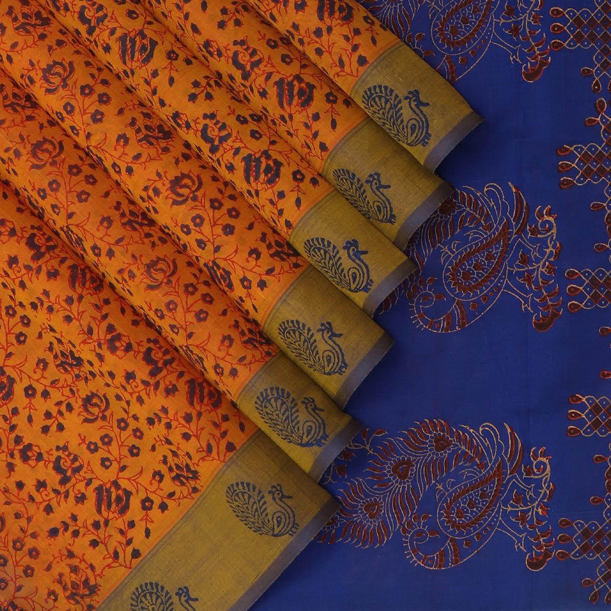 Printed Silk Cotton Saree Honey Color and Indigo blue with Annam border