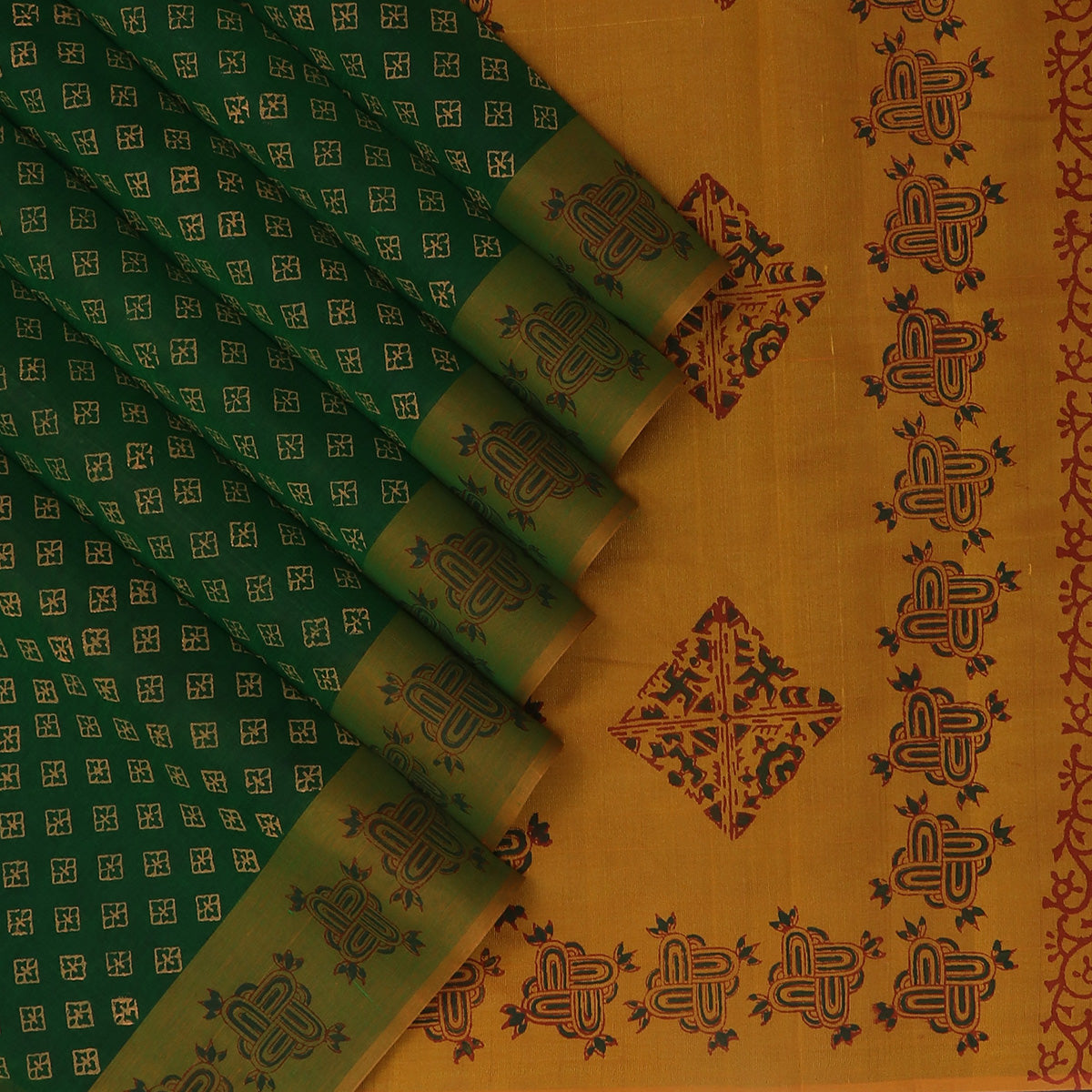 Printed Silk Cotton Saree Dark Green and Honey color with Simple Border