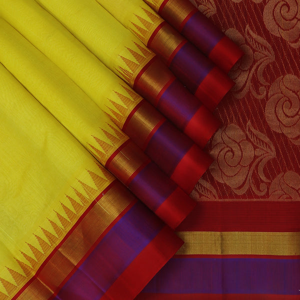 Kuppadam Silk Cotton Saree Yellow and Maroon with silk Border