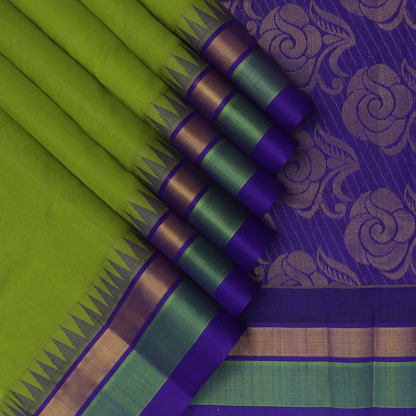 Kuppadam Silk Cotton Saree Mehandi Green and Blue with Silk border