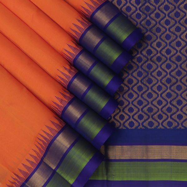 Kuppadam Silk Cotton Saree Orange and Blue with Silk Border