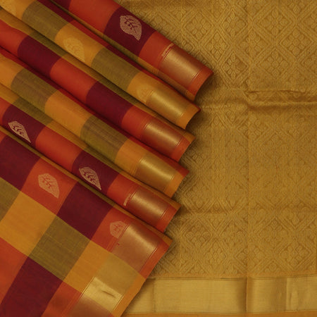 Silk Cotton Saree Paazhum Pazhamum Checks Maroon and Orange with Leaf Buttas and Zari Border