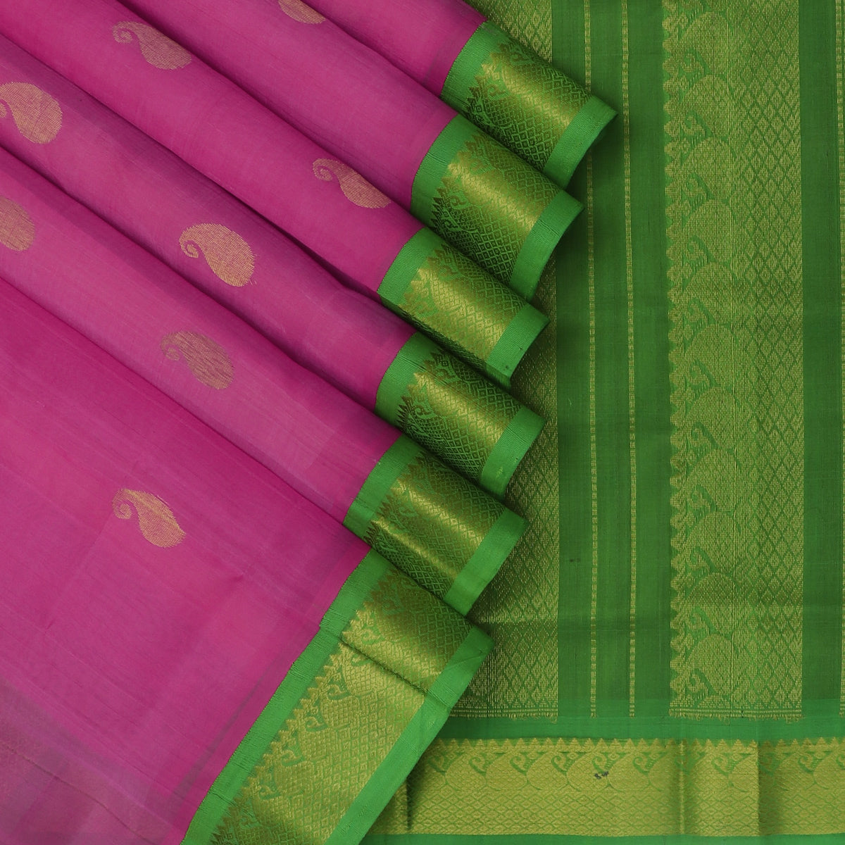 Silk Cotton Saree Pink with Buttas and Light Green with Mango Zari Border Korvai