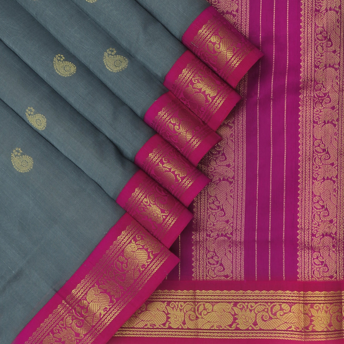 Silk Cotton Saree Grey with Buttas and Pink with Peacock Zari Border Korvai