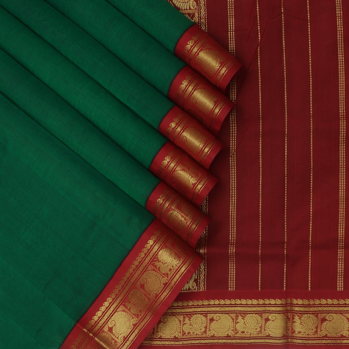 Silk Cotton Saree Dark Green and Maroon with Annam and Mango Zari Border Korvai