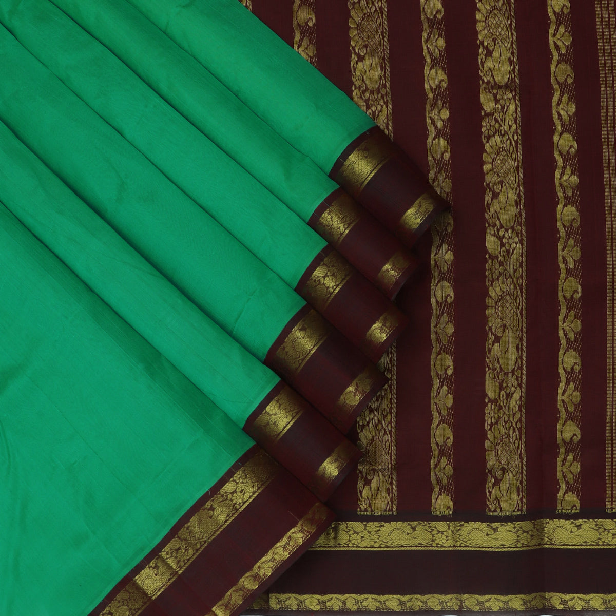 Silk Cotton Seree Light Green and Dark Maroon with Annam Zari Border Korvai