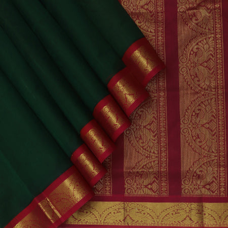 Silk Cotton Seree Dark Green and Maroon with Annam Zari Border Korvai