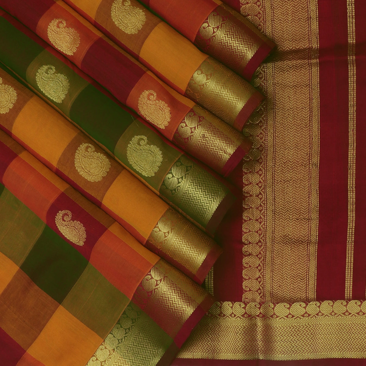 Silk Cotton Saree Multi Color with Mango Buttas and Mango zari border 9 yards