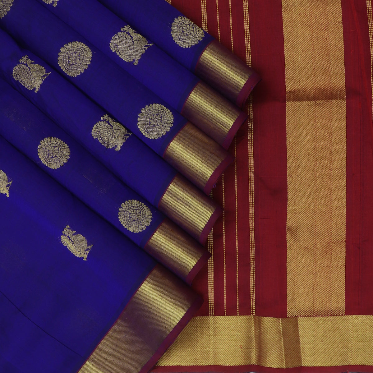 Silk Cotton Saree Blue with Annam and Mandala Buttas and zari border 9 yards