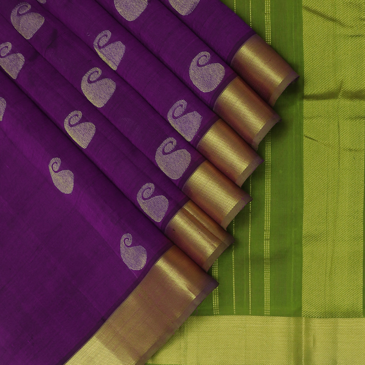 Silk Cotton Saree Violet with Mango Buttas and zari border 9 yards