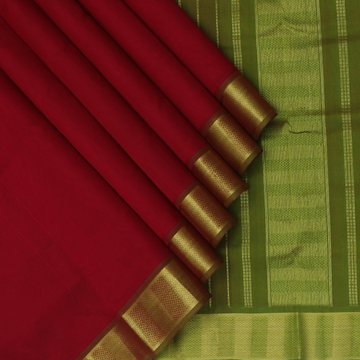 Silk Cotton Saree Red and Moss Green with zari border 9 yards