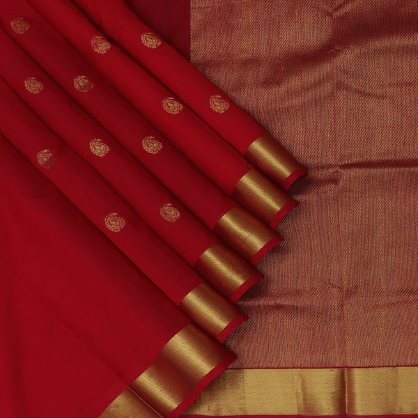Silk Cotton Saree Red with Mango Buttas and Zari border