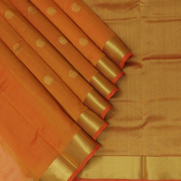 Silk Cotton Saree Honey Color with Mango Buttas and Zari border